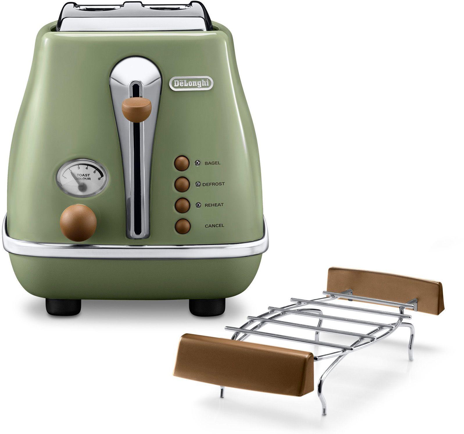 DELONGHI De'Longhi Toaster Icona Vintage »CTOV 2103.GR«, im Retro-Look, mit Brötchenaufsatz, 900 Watt