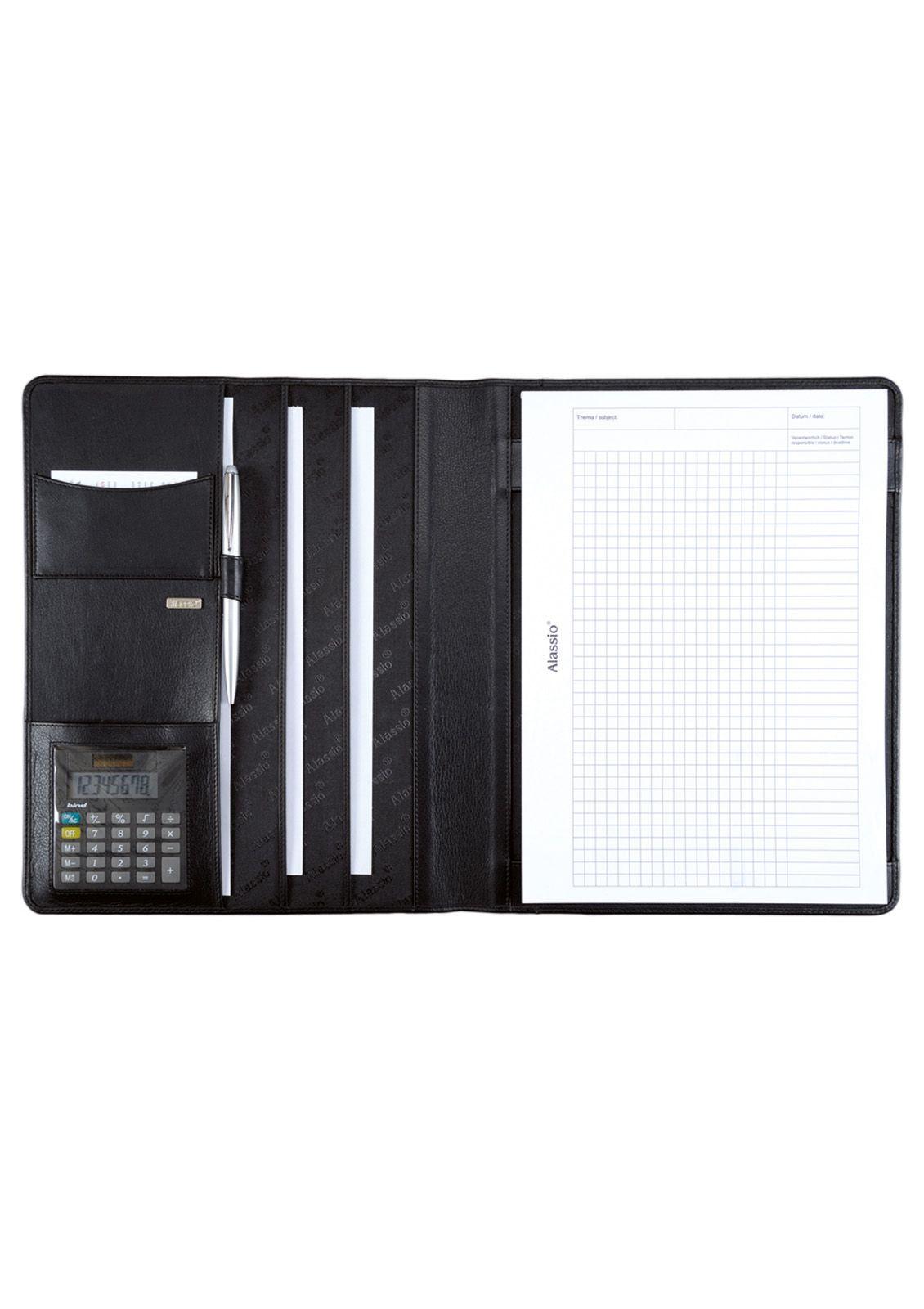 ALASSIO® Alassio® Schreibmappe aus Nappaleder mit Taschenrechner DIN A4, »Cremona«
