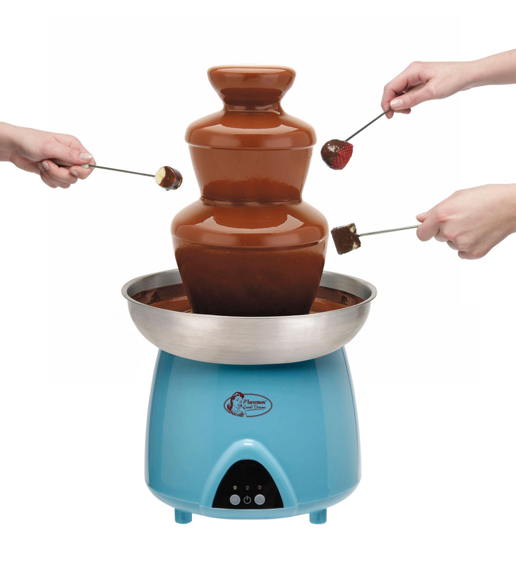 BESTRON bestron Schokofontäne, Schokoladenbunnen DUE4007, beheizte 1,5 Liter-Edelstahlschüssel