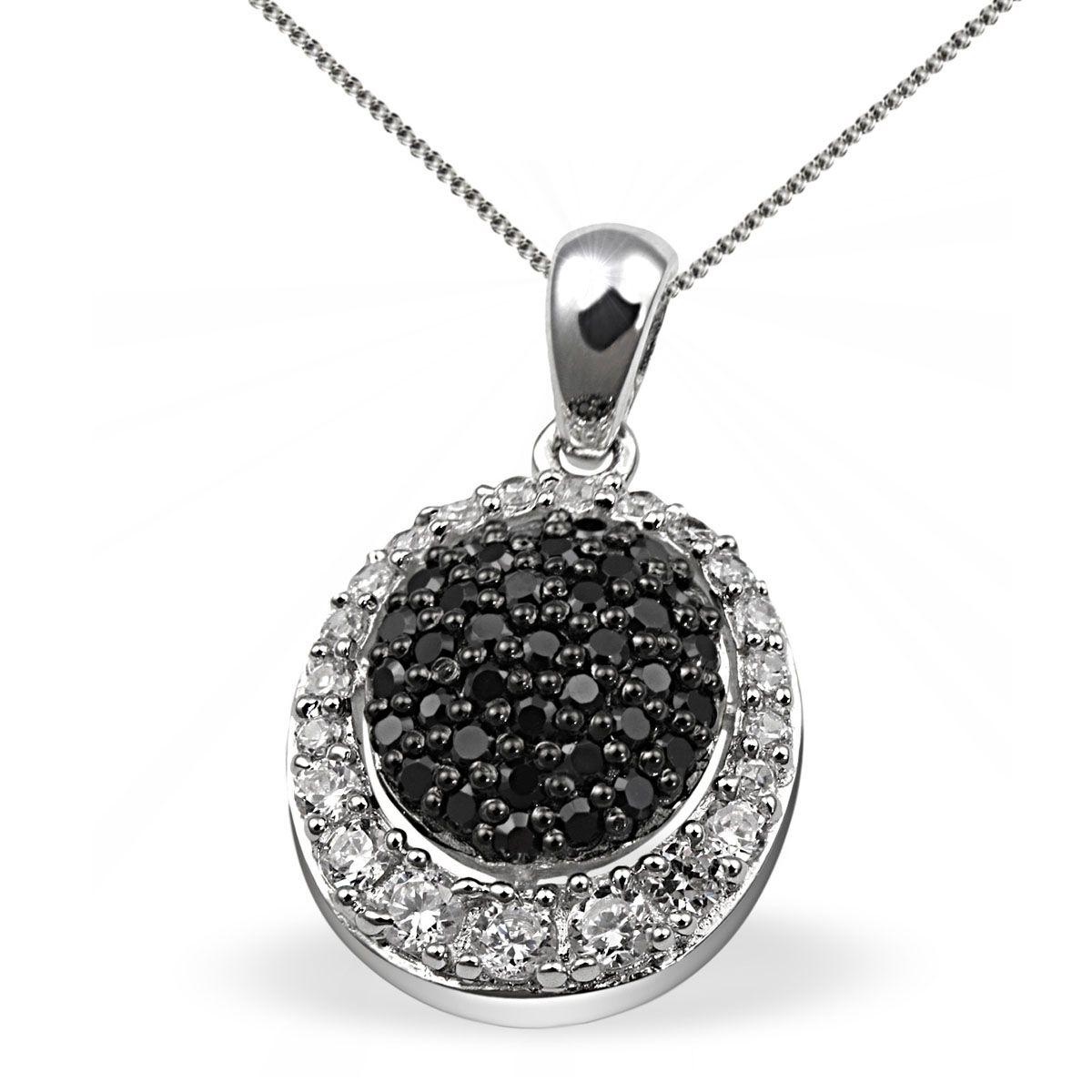 AVERDIN Averdin Collier Silber 925 schwarz weisse Zirkonia Pavee