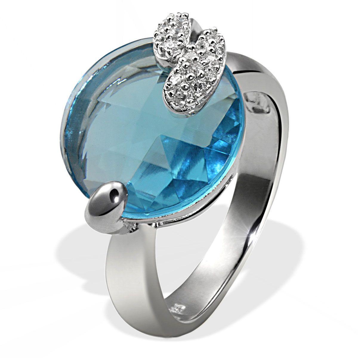 AVERDIN Averdin Damenring Silber 925 hellblauer und weisse Zirkonia rund