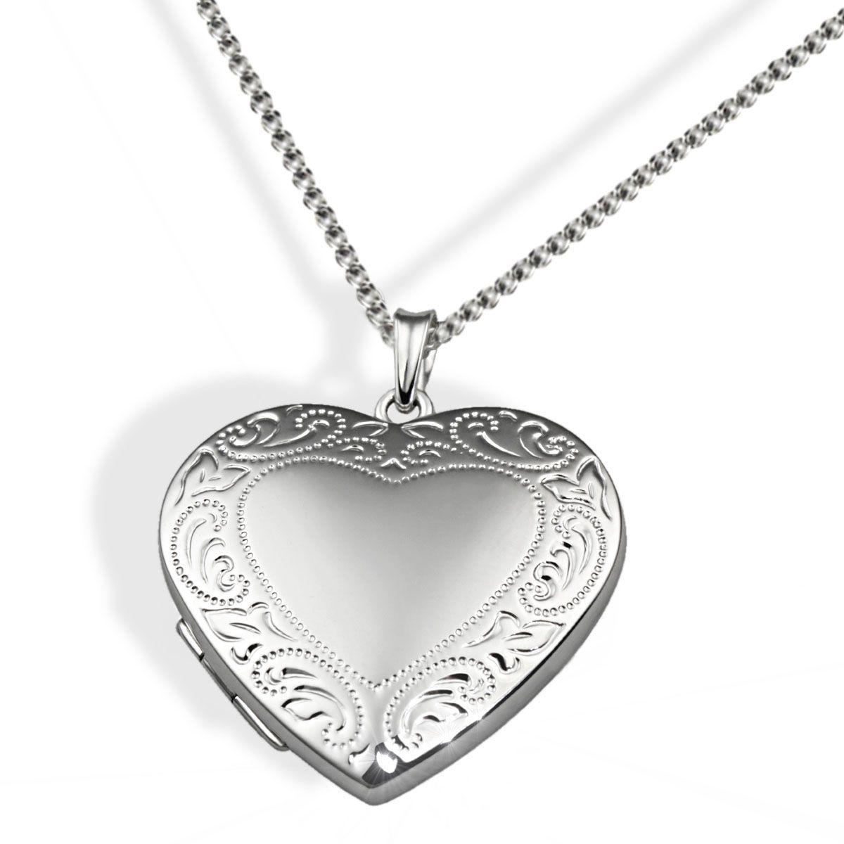 AVERDIN Averdin Collier Silber 925 Medallion Herz mit Muster