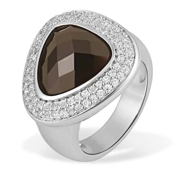 AVERDIN Averdin Damenring 925 Sterlingsilber 1 brauner Glaskristall 77 Zirkonia