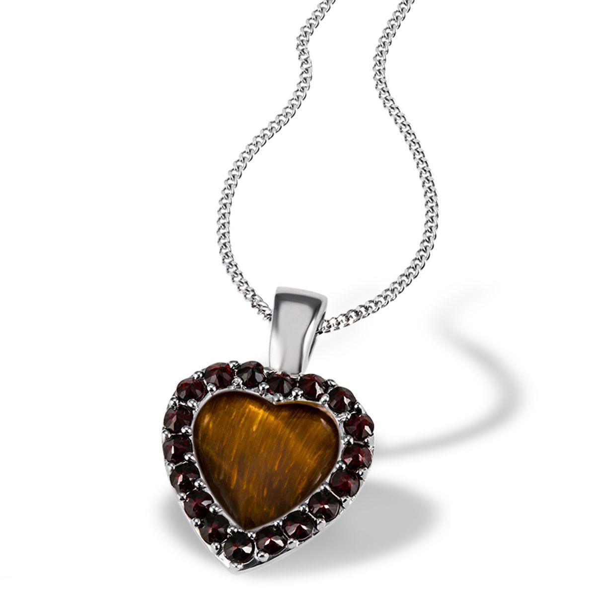 AVERDIN Averdin Collier 925/- Silber 18 Granaten rot-braun 1Tigerauge braun