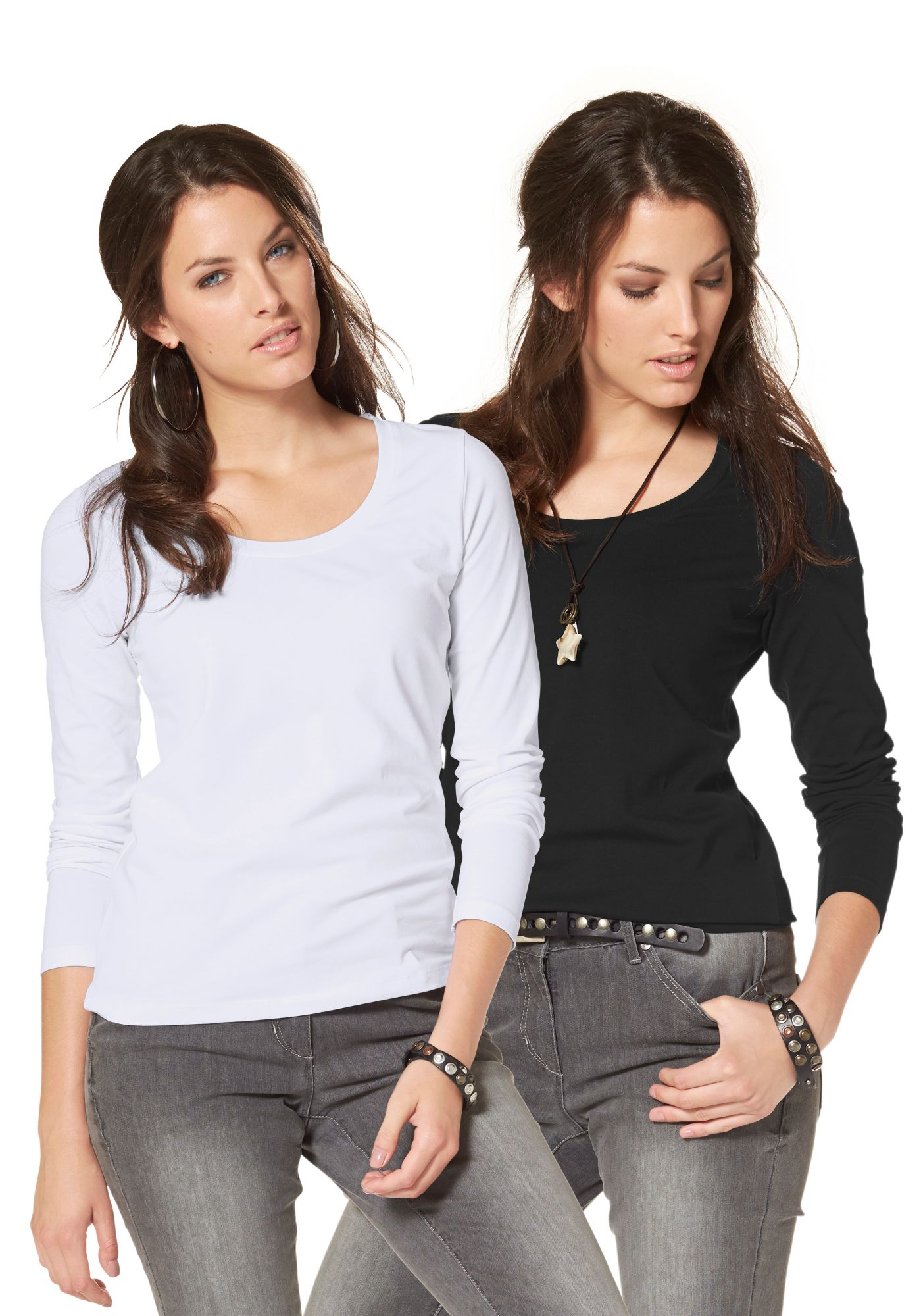 ANISTON Aniston Langarmshirt (Packung, 2 tlg., 2er-Pack)