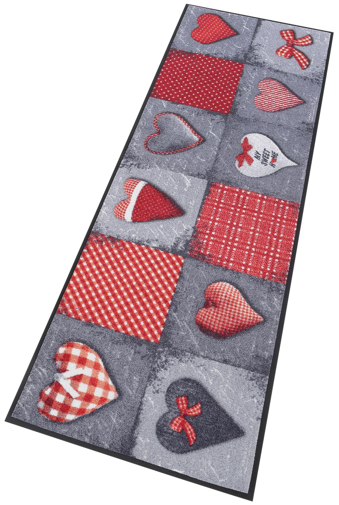 Läufer, »My Sweet Home grey«, wash+dry by Kleen-Tex, rechteckig, Höhe 7 mm, gedruckt