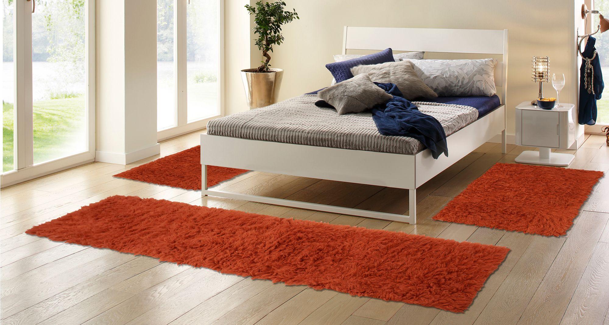 BÖING CARPET Bettumrandung, Böing Carpet, »Flokati 1500 g«, handgearbeitet, Wolle (3-tlg.)