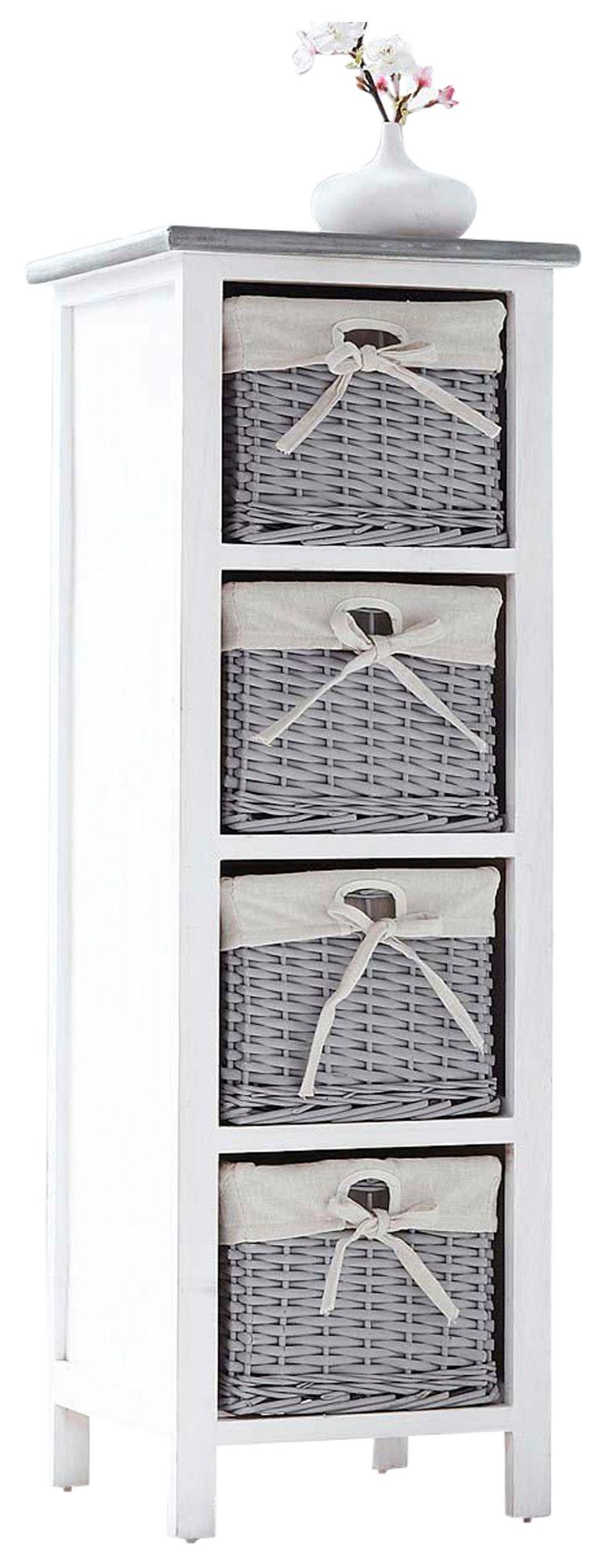 HOME AFFAIRE Best of home Regal mit 4 Körben Weiß-Grau