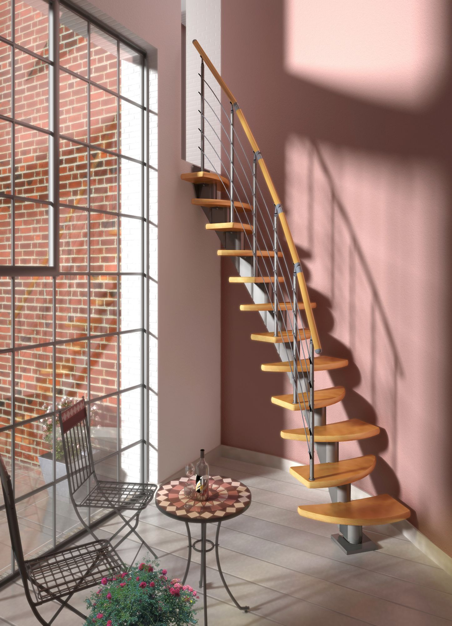 DOLLE  Systemtreppe »Berlin«, Edelstahlgeländer mit Holzhandlauf aus Buche, BxH: 64x315 cm