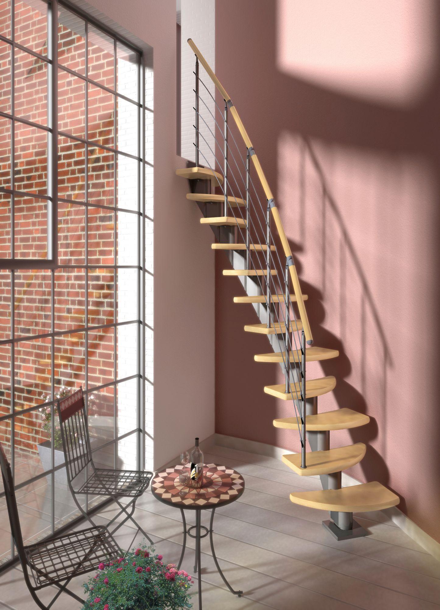 DOLLE  Systemtreppe »Berlin«, Edelstahlgeländer mit Holzhandlauf aus Birke, BxH: 64x292 cm