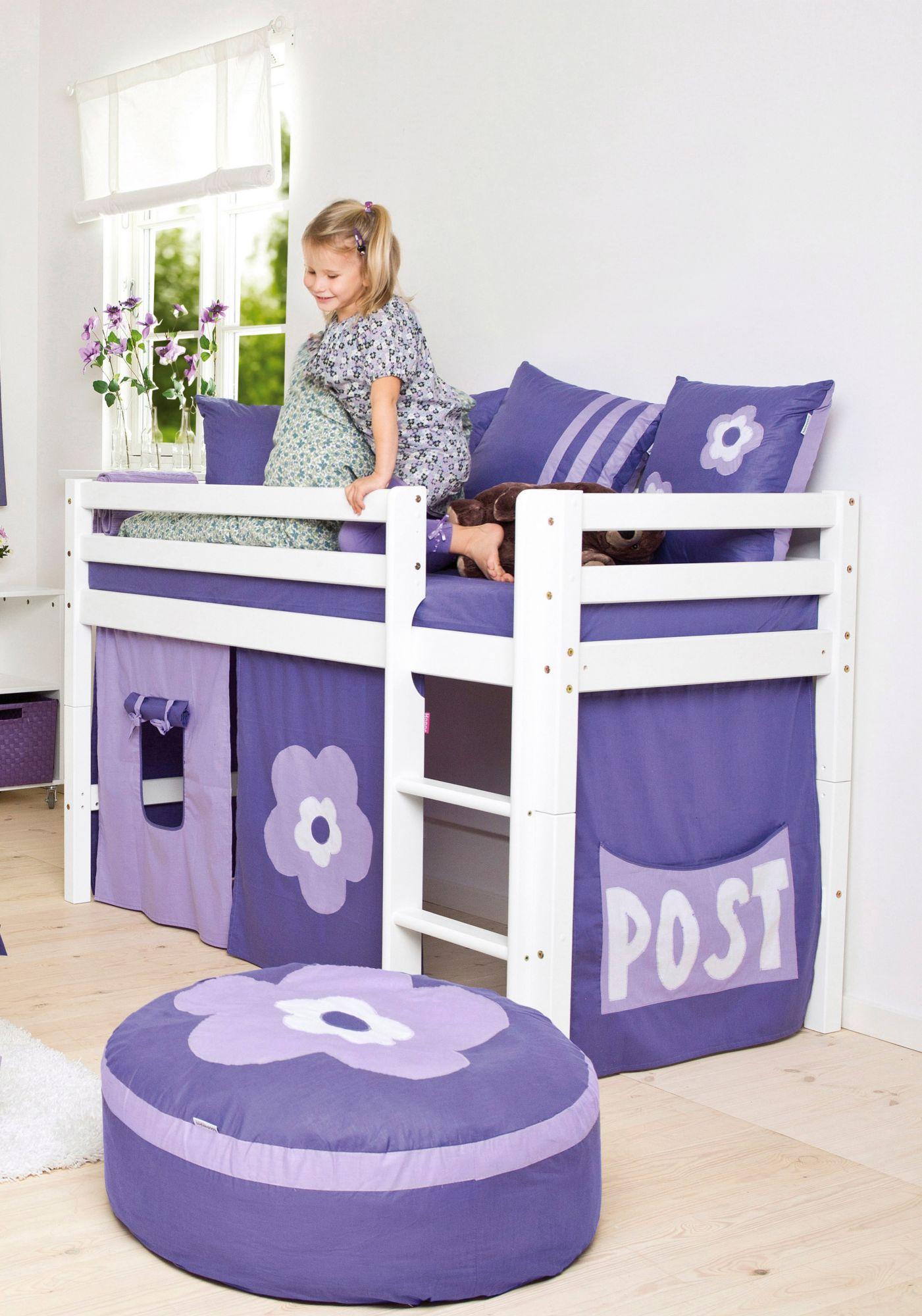 HOPPEKIDS Halbhohes Bett, Hoppekids, »Purple Flower«