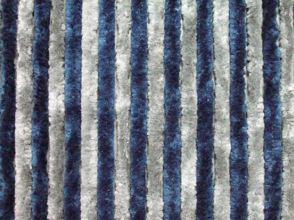 Flauschvorhang , blau/silberfarben, in 2 Breiten