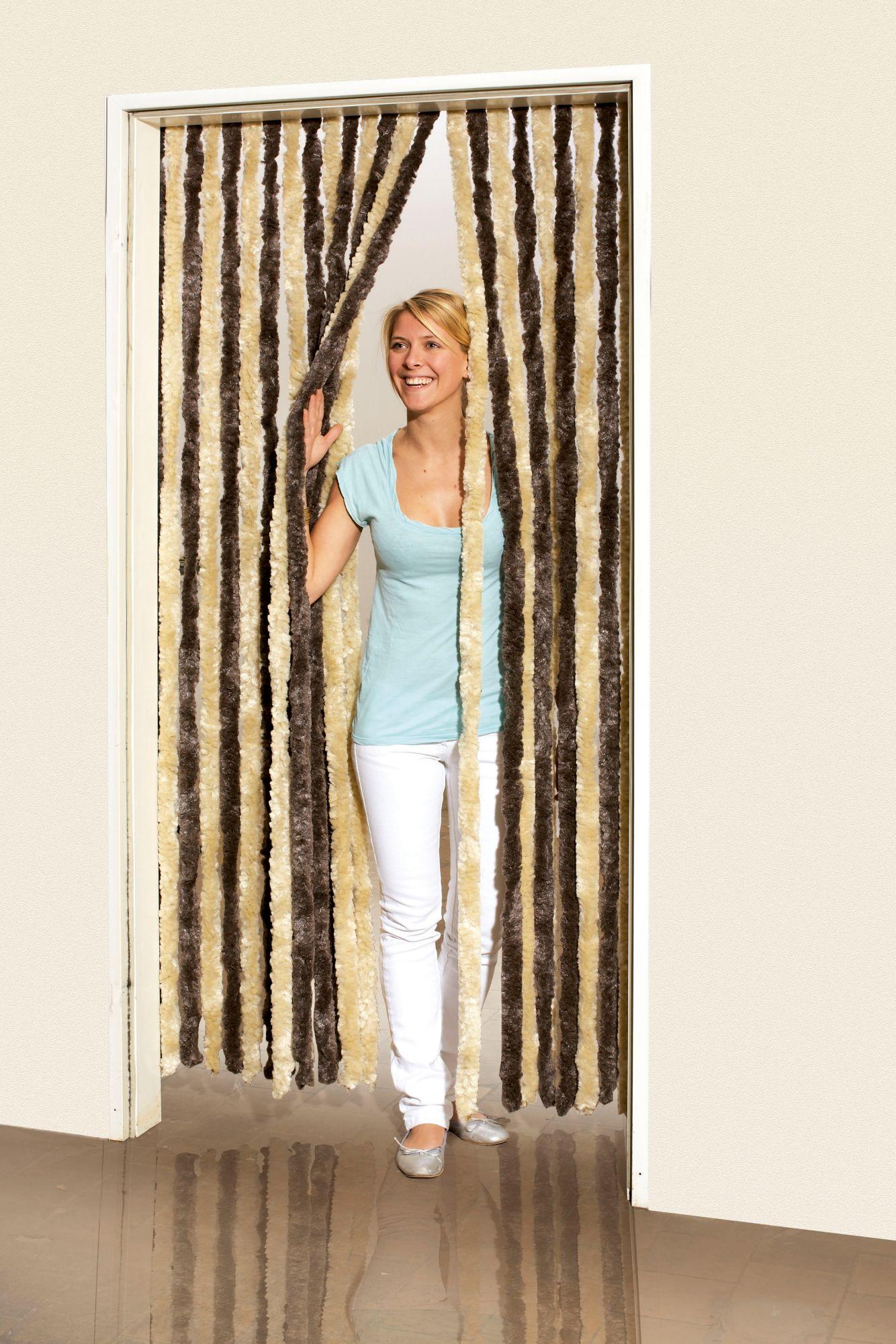Flauschvorhang , braun/beige, in 2 Breiten