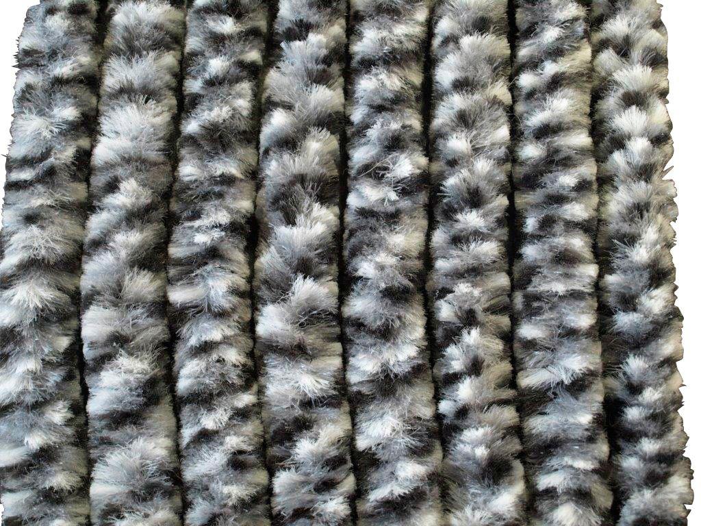 Flauschvorhang , grau/weiß/schwarz, in 2 Breiten