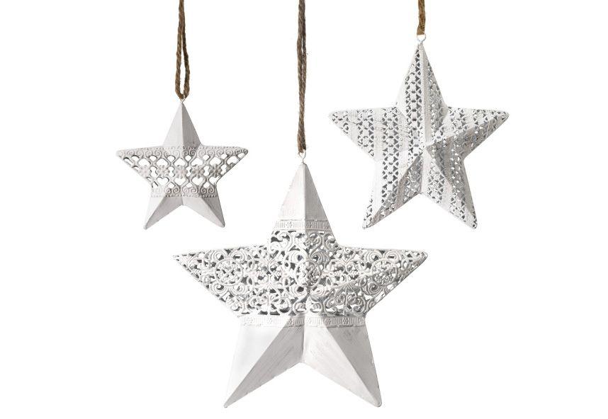 MAILORD Best of home Dekohänger-Set Sterne 3-teilig Weiß