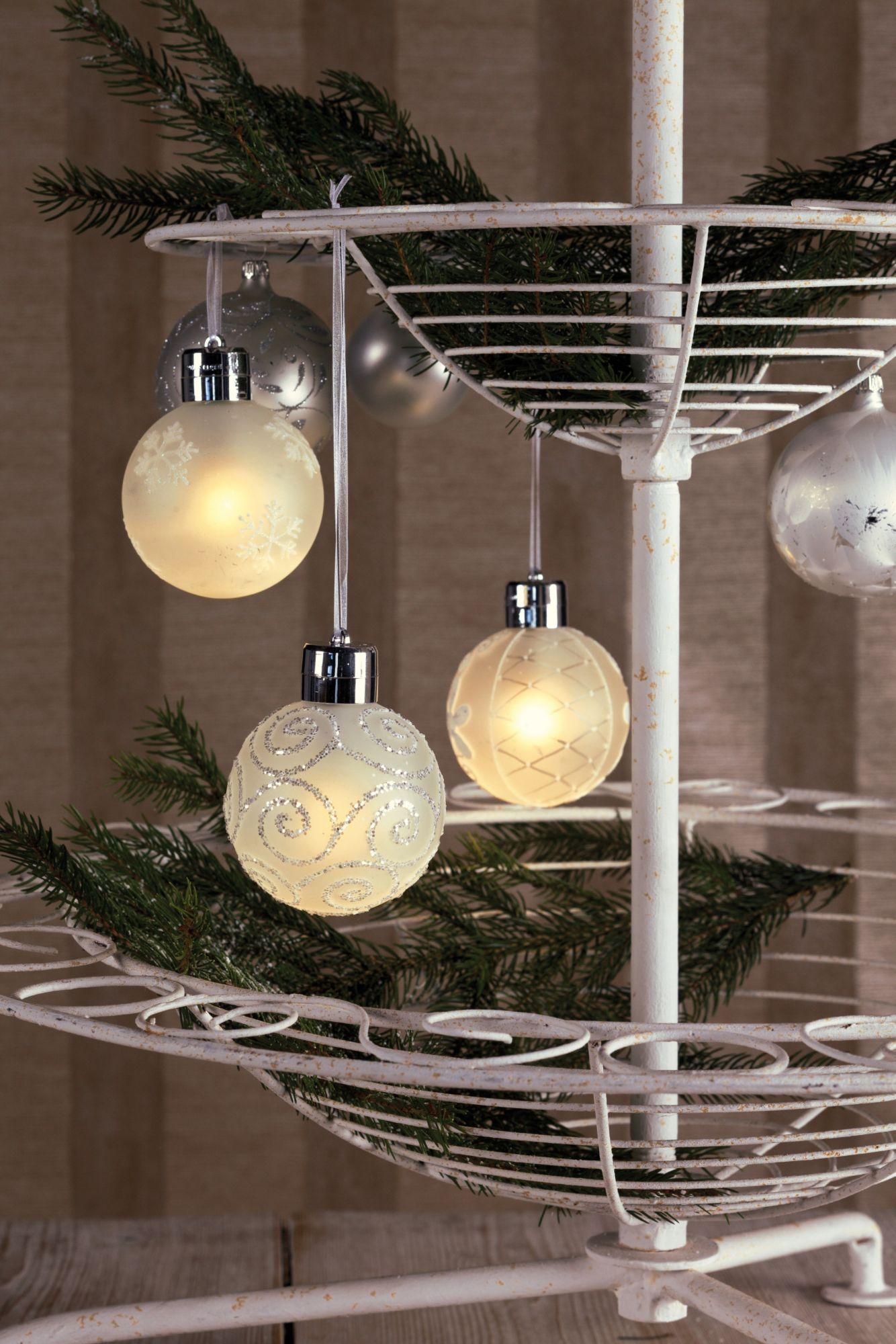 HELLUM hellum LED - Glaskugel 3er Set mit Fernbedienung