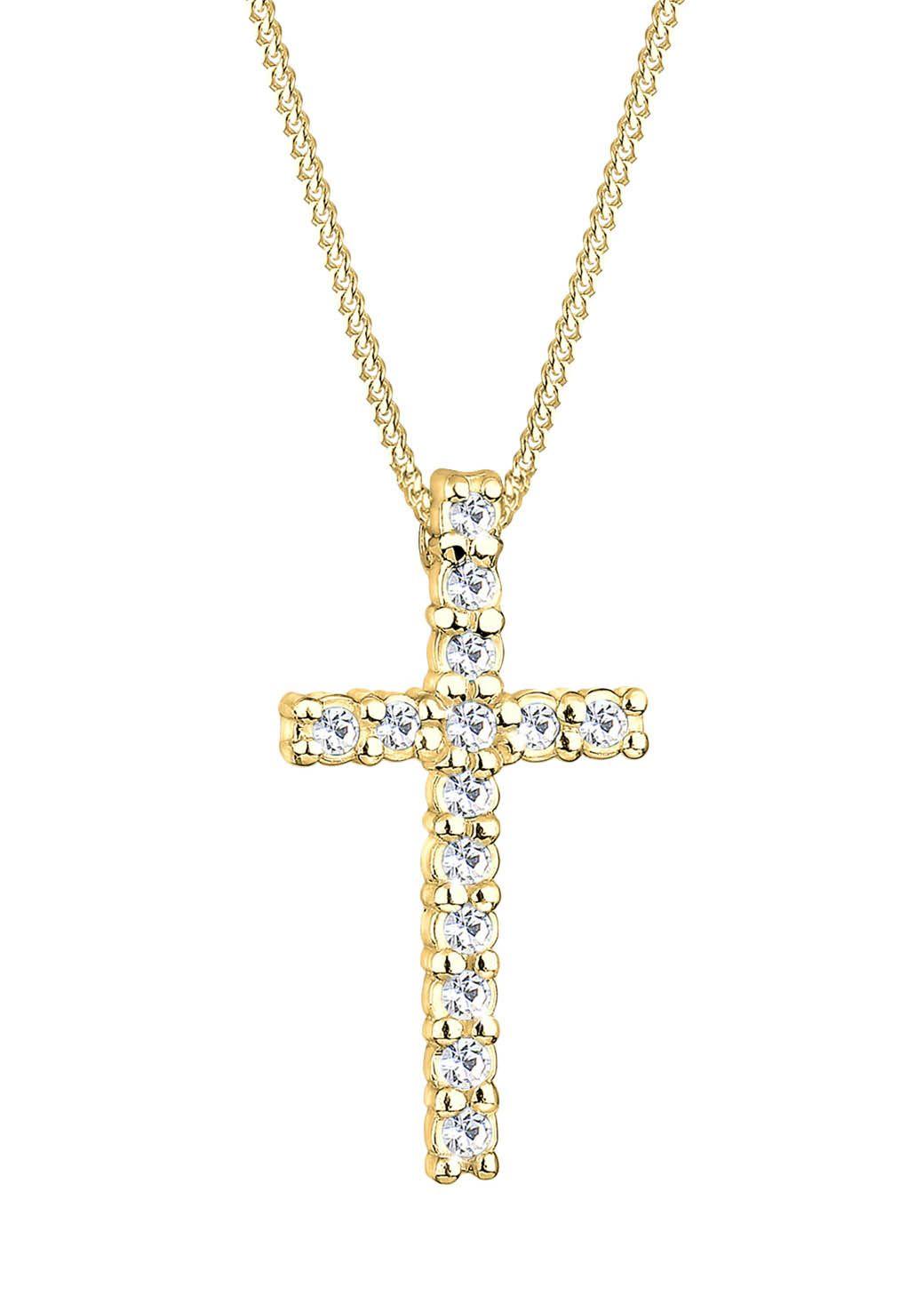 GOLDHIMMEL Goldhimmel Kette mit Anhänger, Kreuz mit Swarovski® Kristallen, »Hope, 0111751411«