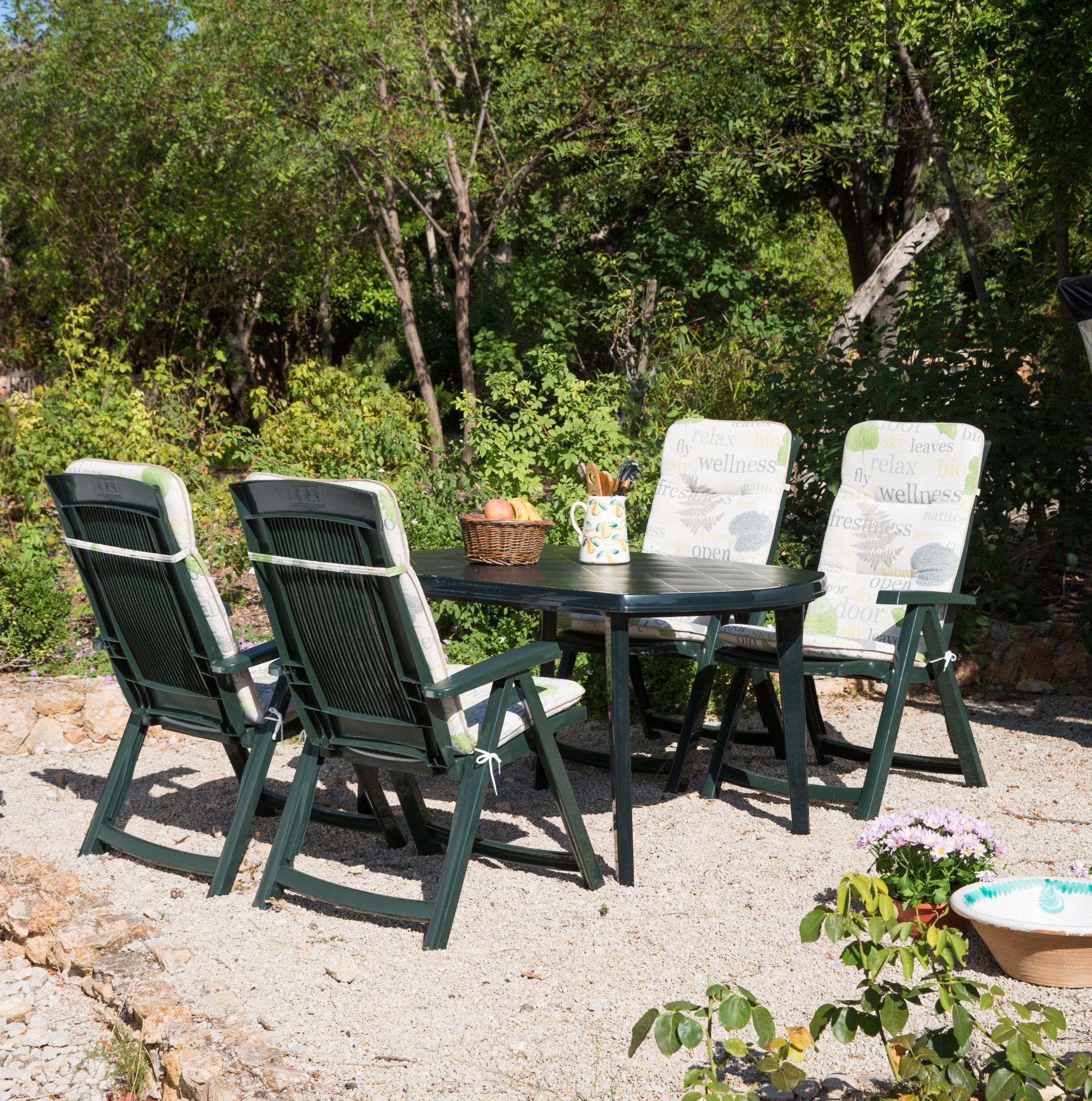 BEST Best 9-tgl. Gartenmöbelset »Elise«, 4 Klappsessel, Tisch 137x90 cm, Kunststoff, grün