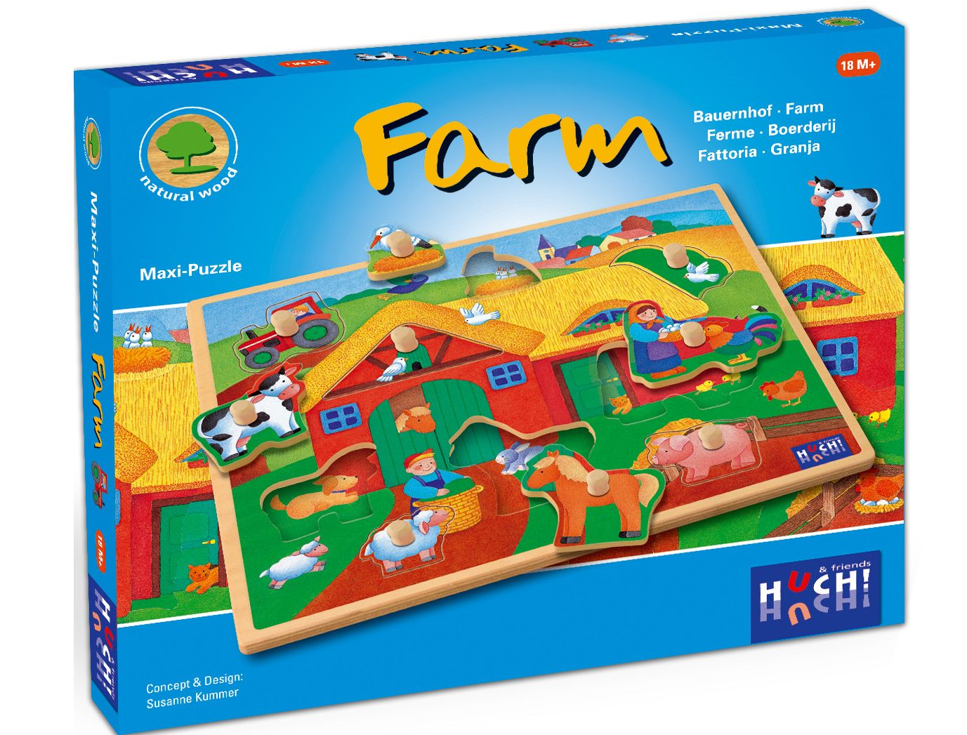 HUCH FRIENDS Huch! & friends Puzzle, 9 Maxi-Teile, »Wooden Line Farm«