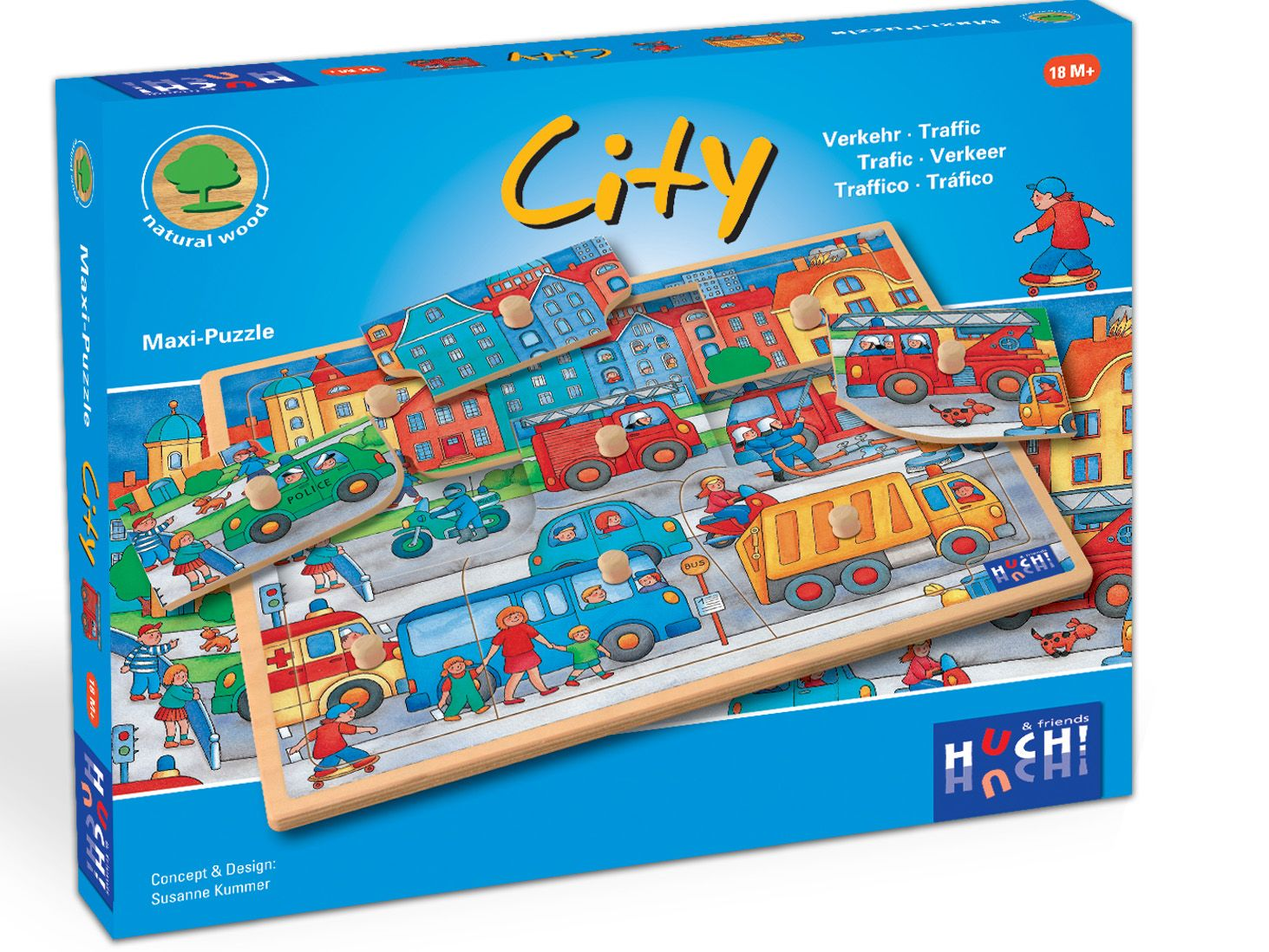HUCH FRIENDS Huch! & friends Puzzle, 9 Maxi-Teile, »Wooden Line City«