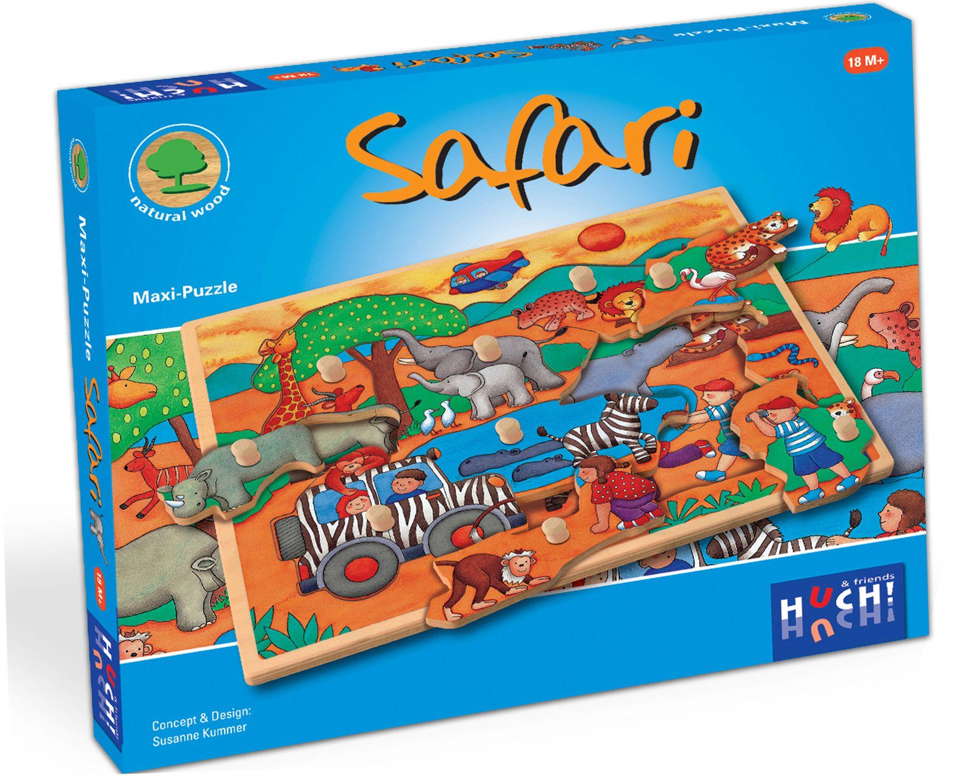 HUCH FRIENDS Huch! & friends Puzzle, 9 Maxi-Teile, »Wooden Line Safari«