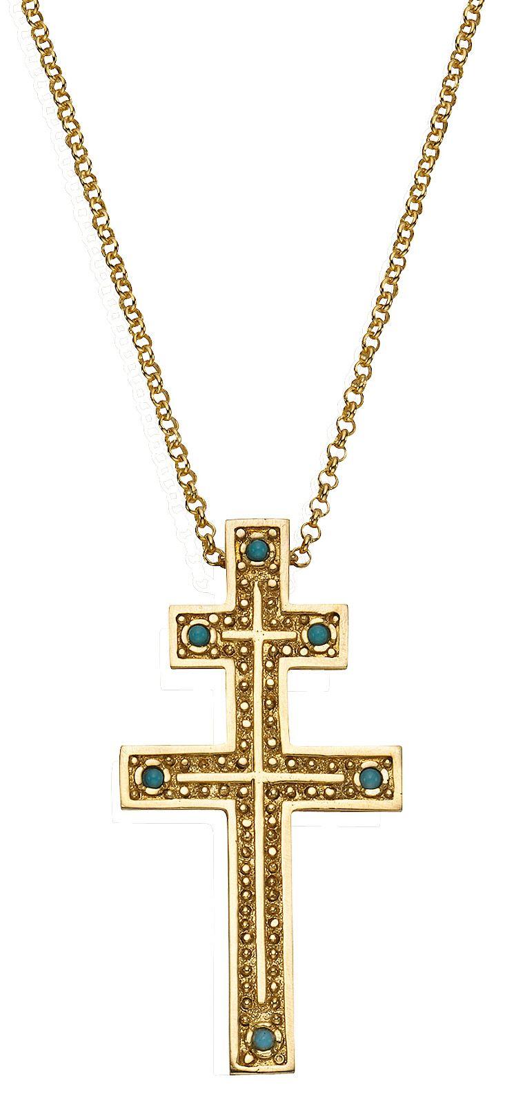 FIRETTI firetti Anhänger mit echtem Türkis, »Lothringer Kreuz«