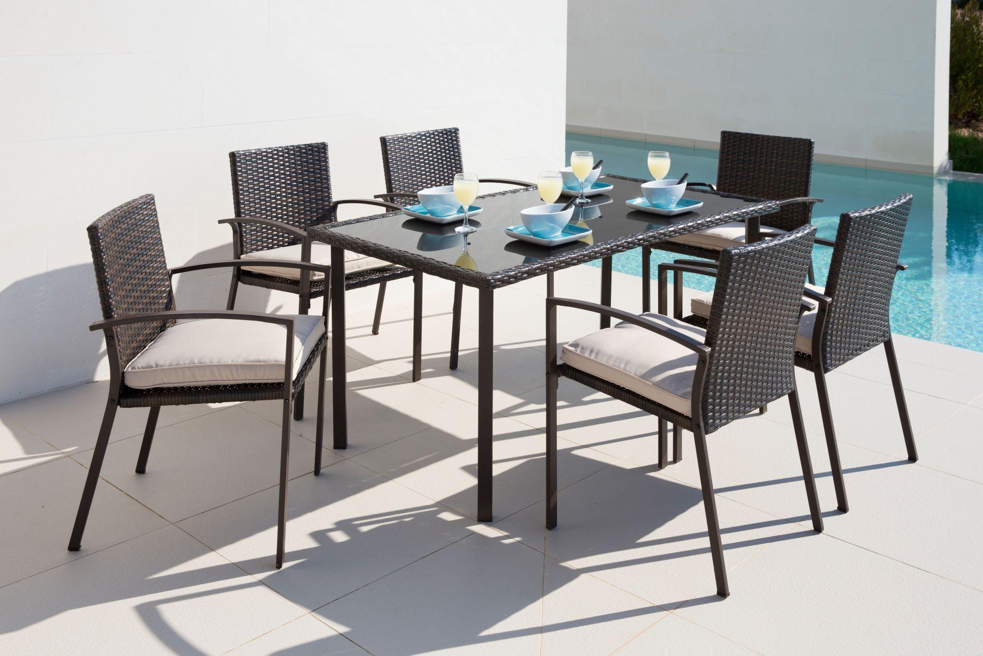 13-tgl. Gartenmöbelset »Victoria«, 6 Sessel, Tisch 150x80 cm, Polyrattan, braun