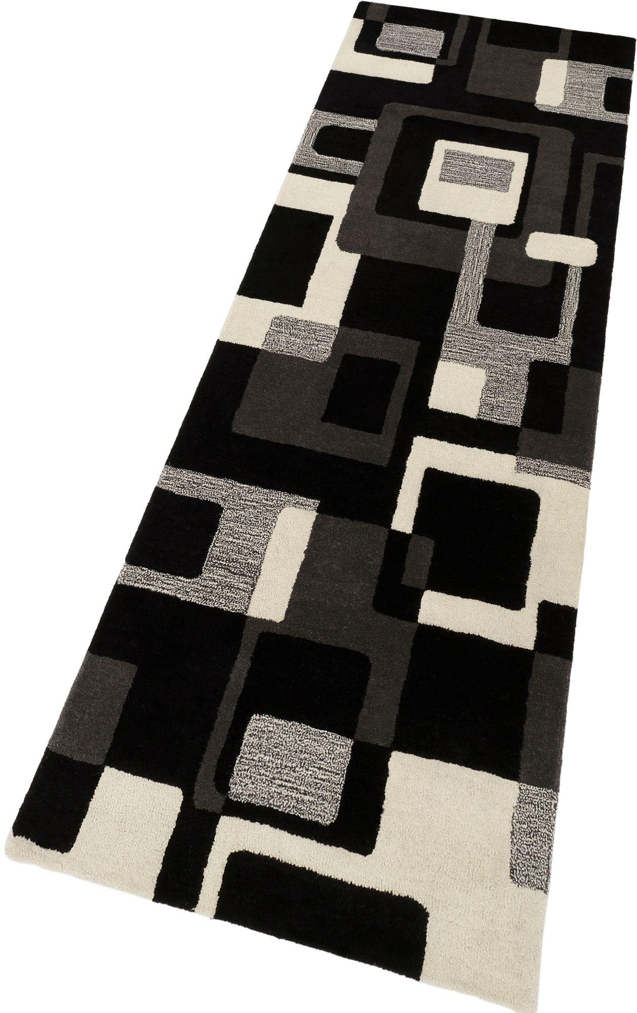 HOME AFFAIRE COLLECTION Schurwoll-Teppichläufer, HOME AFFAIRE, »Zahra«, Höhe 11 mm, handgearbeiteter Konturenschnitt