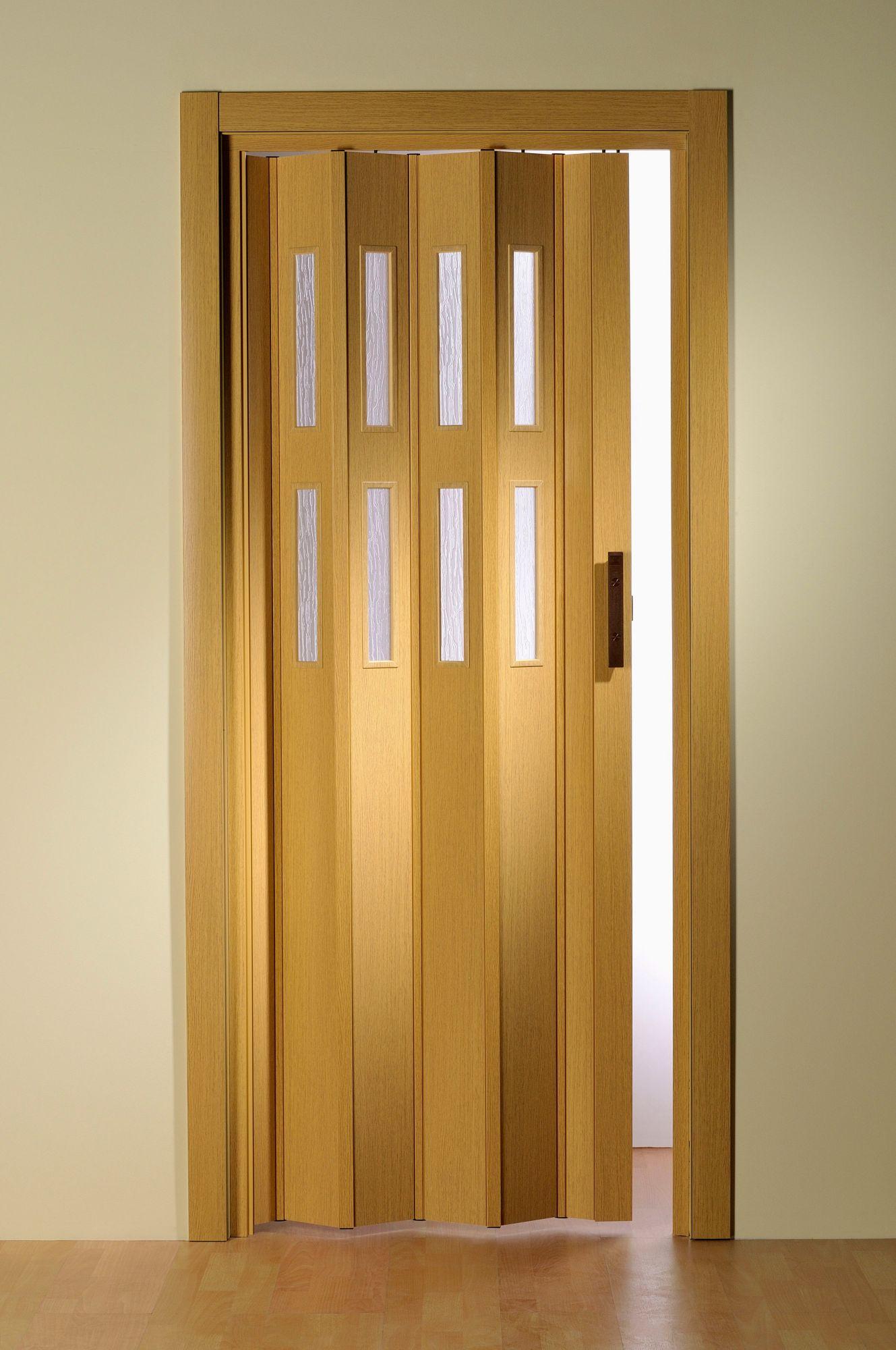Kunststoff-Falttür »Luciana«, BxH: 88,5x202 cm, Eichefarben mit Fenstern in Riffelstruktur