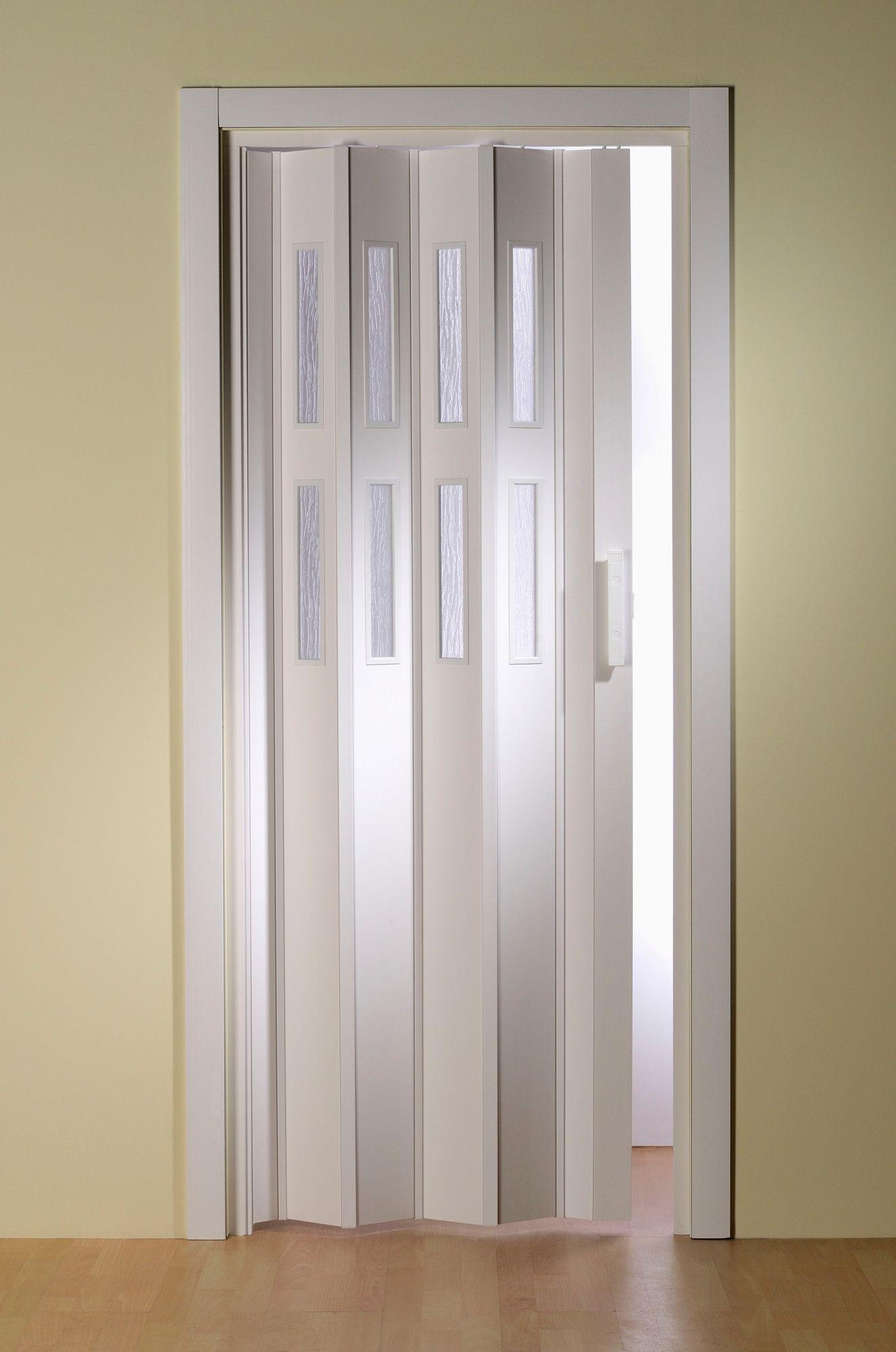 Kunststoff-Falttür »Luciana«, BxH: 88,5x202 cm, Weiß mit Fenstern in Riffelstruktur