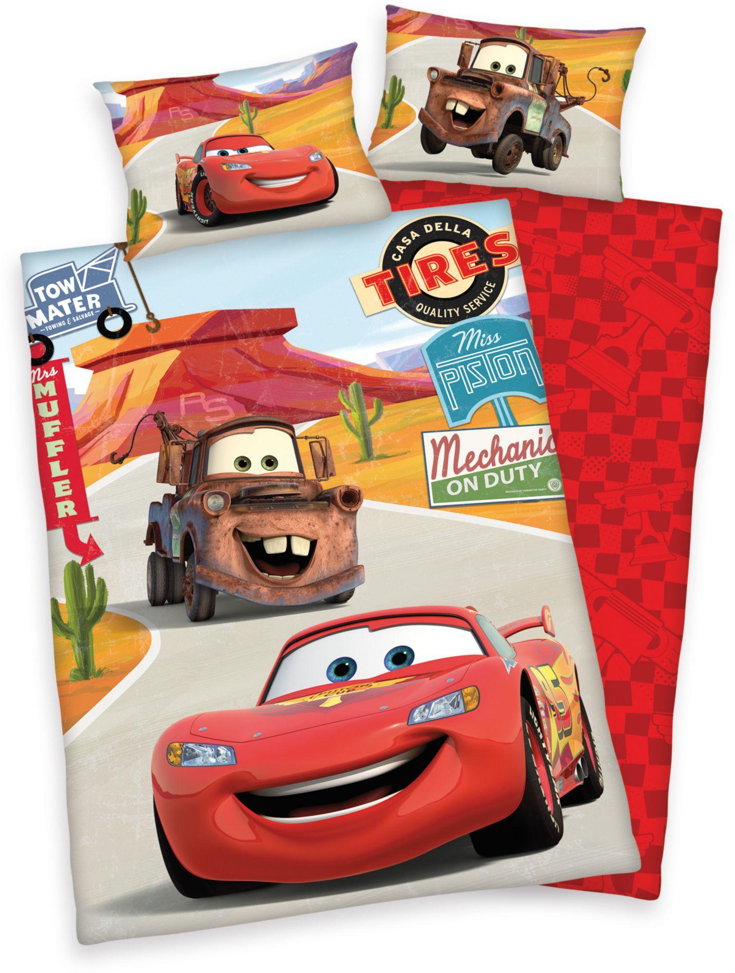 DISNEY Kinderbettwäsche, Disney, »Cars on Road«, mit Automotiven