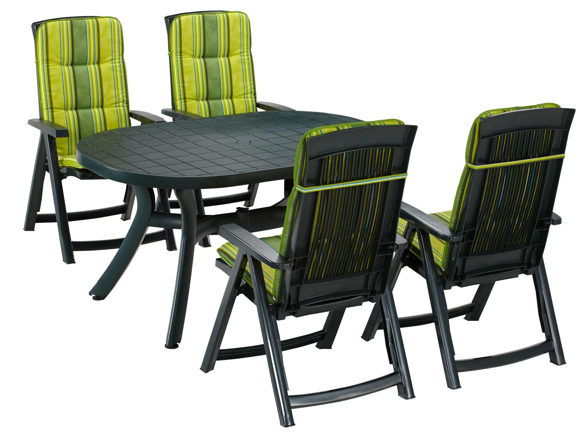 BEST  Gartenmöbelset »Kansas«, 9-tgl., 4 Klappsessel, Tisch 145x95 cm, Kunststoff, grün
