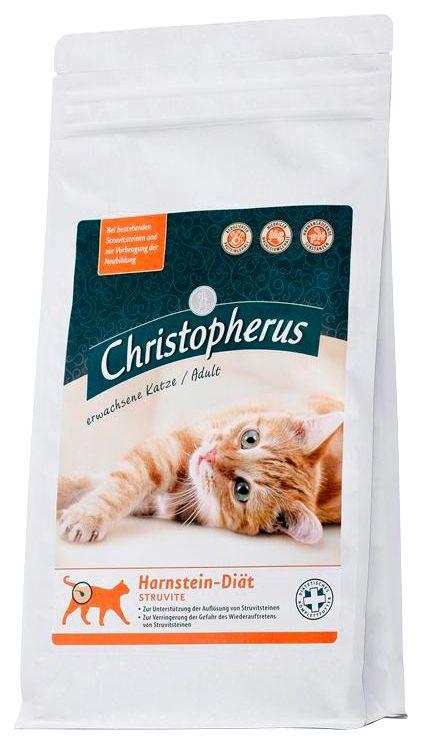 CHRISTOPHERUS Set: Katzentrockenfutter »Christopherus Harnstein-Diät Struvite«, 2 Beutel á 1 kg