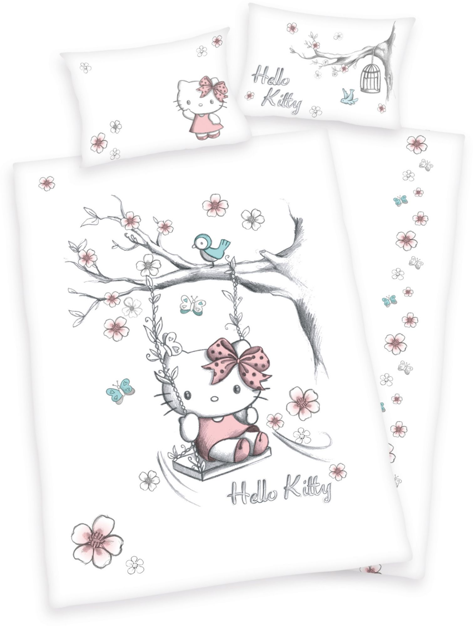 HELLO KITTY Kinderbettwäsche, Hello Kitty, »Swinging Kitty«, mit Katze