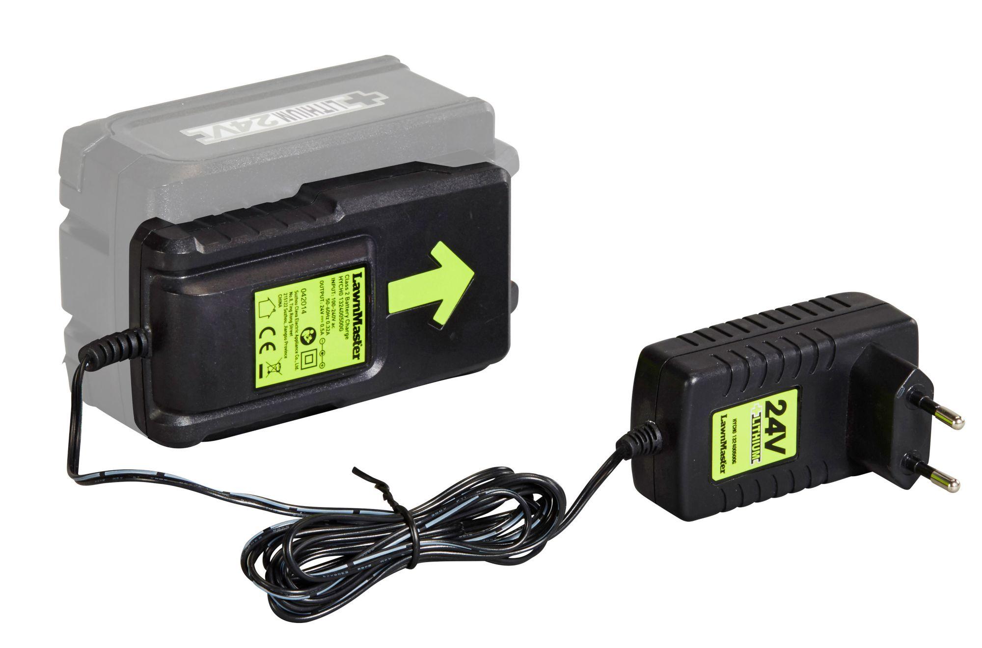 GRIZZLY Grizzly 24V Schnell-Ladegerät für 2,0 Ah oder 4,0 Ah Akkus, 24-Volt-Akku-System