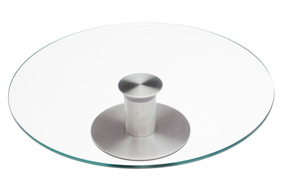 CHG Drehbare Tortenplatte aus Edelstahl und Glas,
