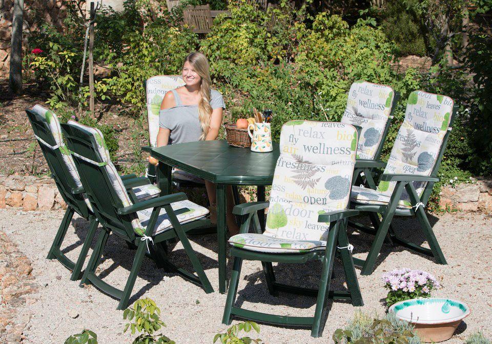 BEST Best 13-tgl. Gartenmöbelset »Elise«, 6 Klappsessel, Tisch 137x90 cm, Kunststoff, grün