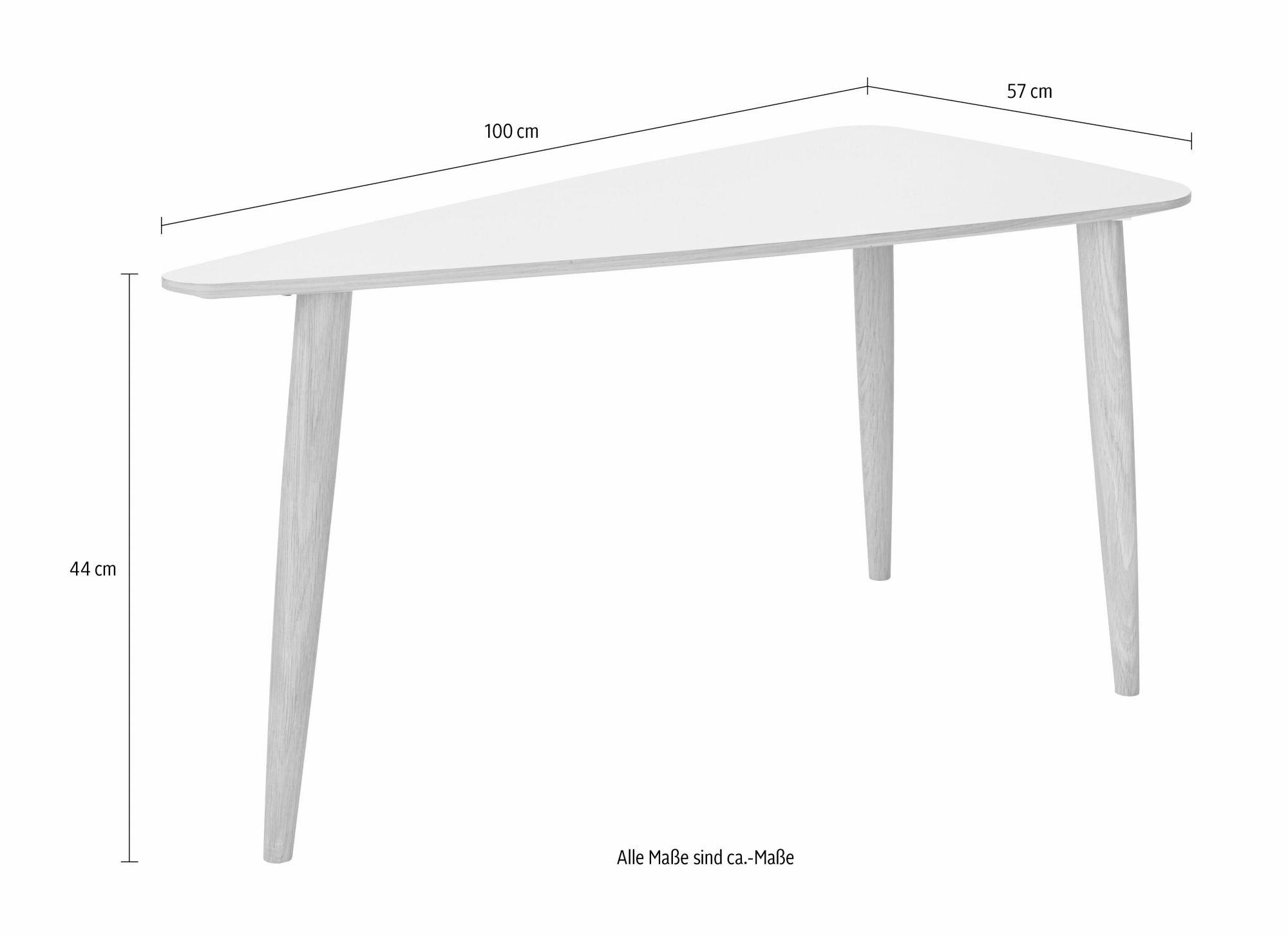 ANDAS andas Couchtisch »Jib«, white oak massiv, mit segelförmiger Tischplatte, in zwei Höhen