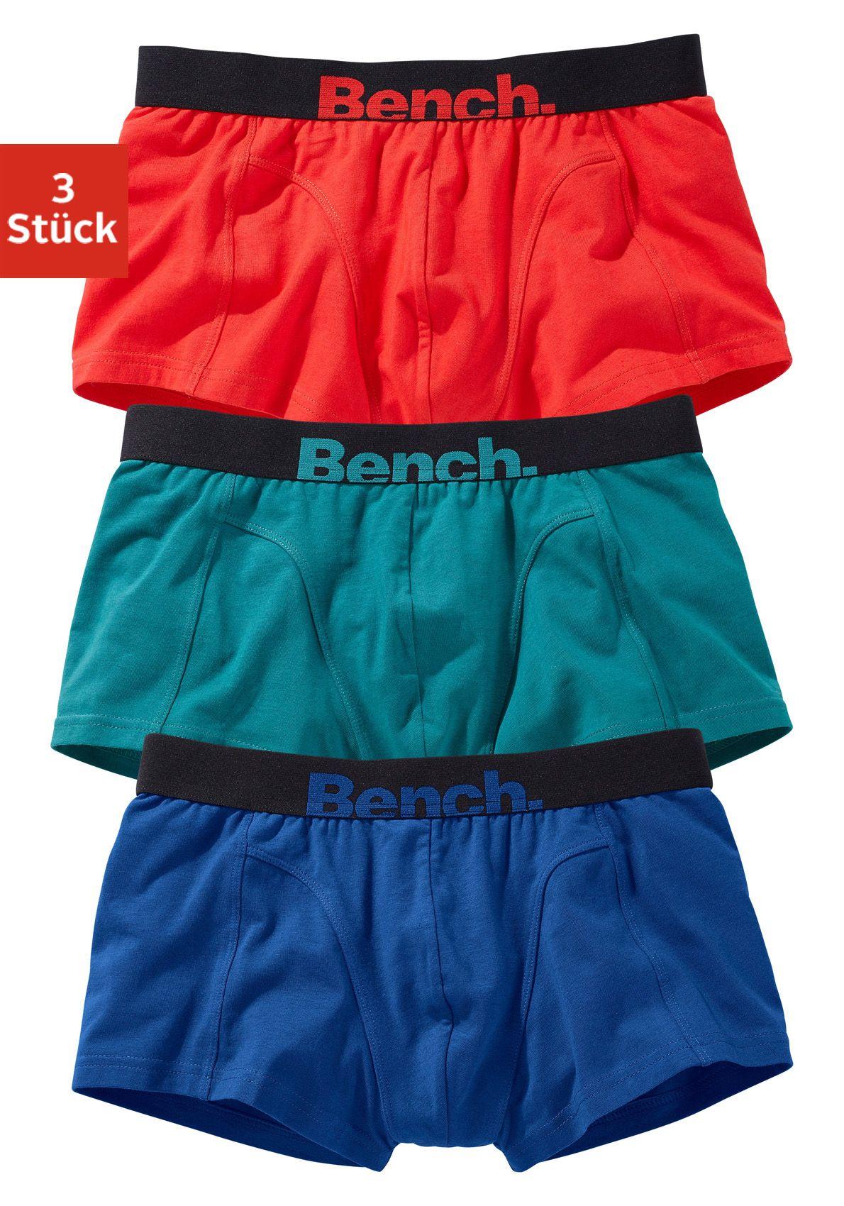 BENCH Bench Hipster (3 Stück) mit farbigem Logodruck am Bund, »Cotton made in Africa«