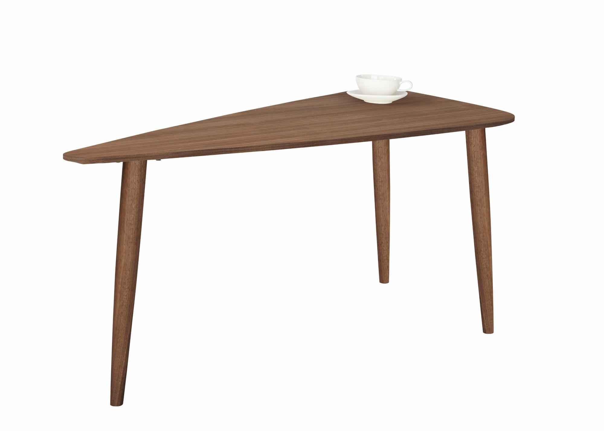 ANDAS andas Couchtisch »Jib« walnut massiv, mit segelförmiger Tischplatte in zwei Höhen