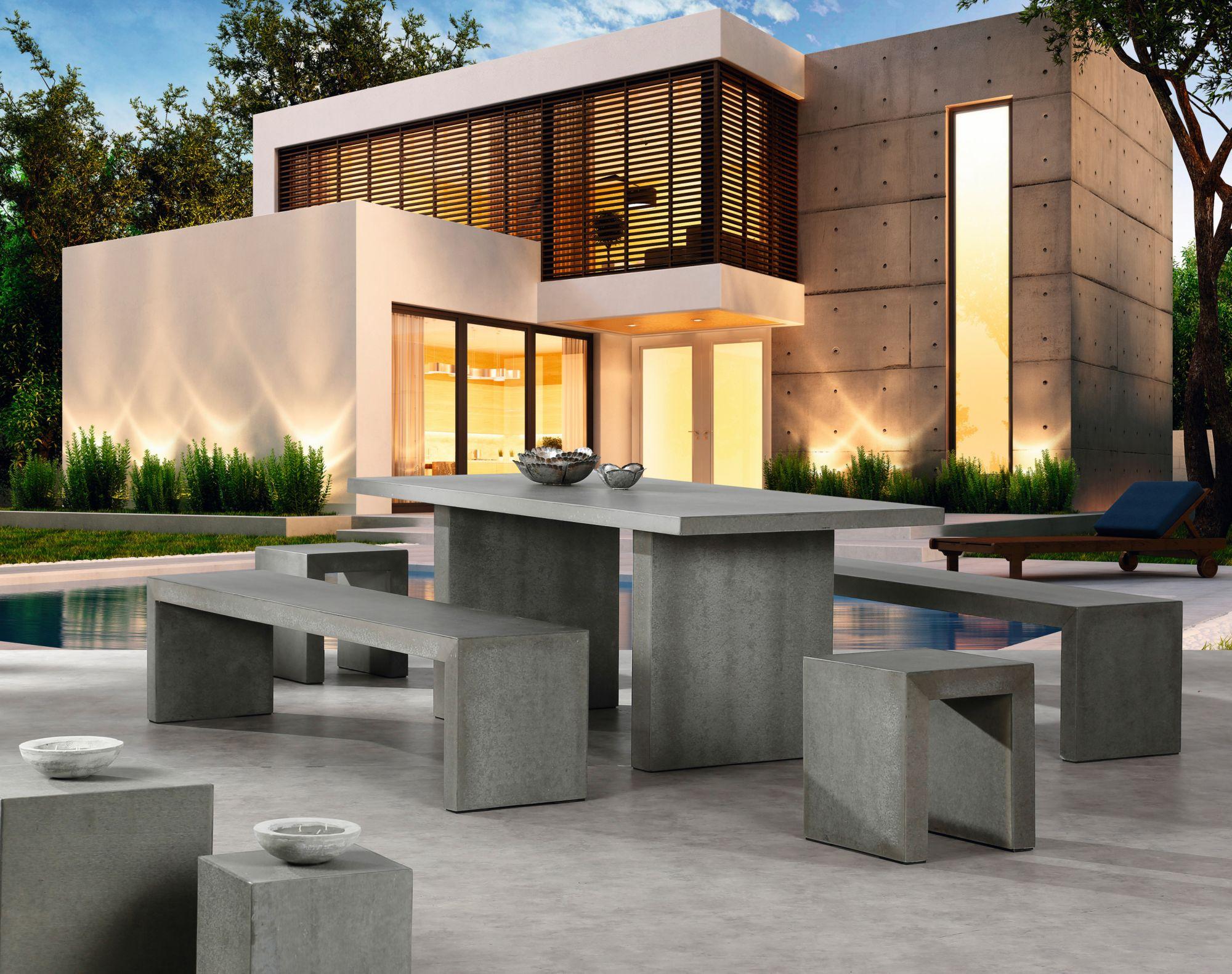 BEST Best 5-tgl. Gartenmöbelset »Rockall«, 2 Bänke 200x45x46 cm, 2 Hocker, Tisch, Beton-Glasfaser, grau