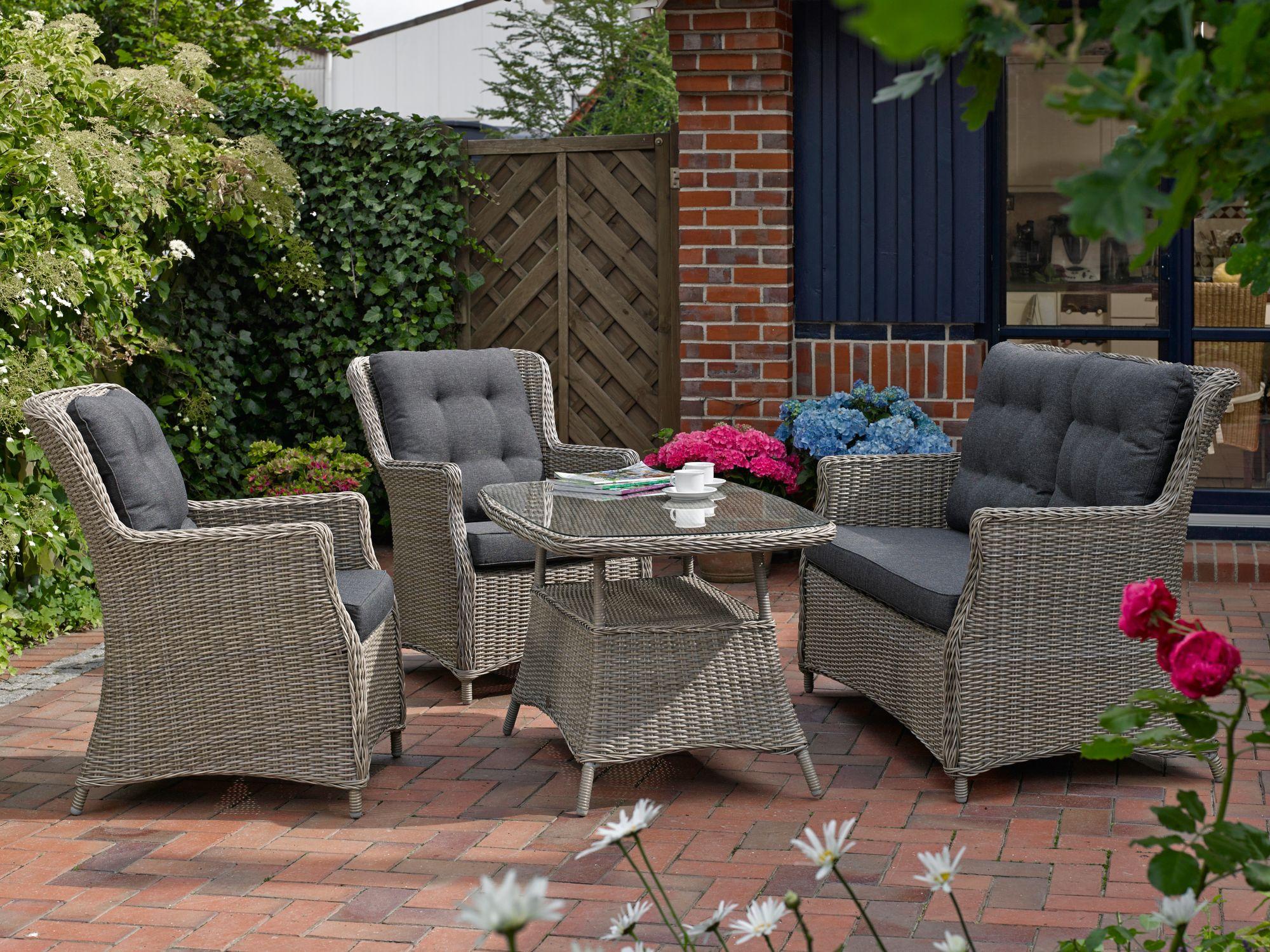 DESTINY  Gartenmöbelset »Casa«, 2 Sessel, 2er-Sofa, Tisch 120x75 cm, Polyrattan, dunkelgrau