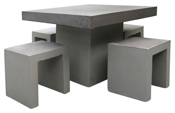 BEST Best 5-tgl. Gartenmöbelset »Rockall«, 4 Hocker, Tisch 100x100 cm, Beton-Glasfaser, grau