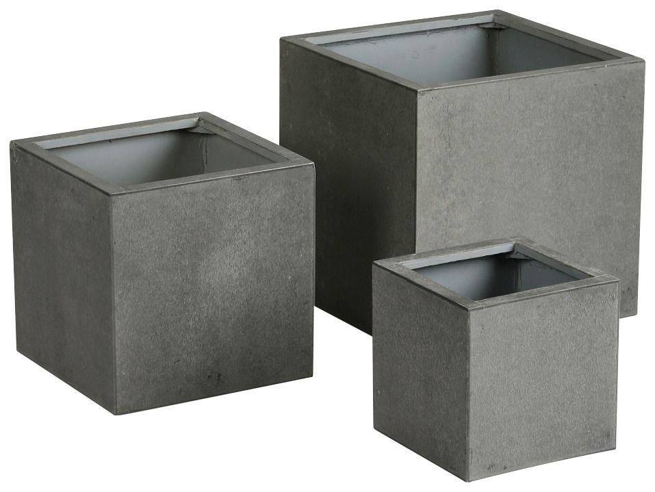 BEST best freizeitmöbel Pflanzbehälter Rockall 3-tlg., betongrau aus Beton-Glasfaser, wetterfest