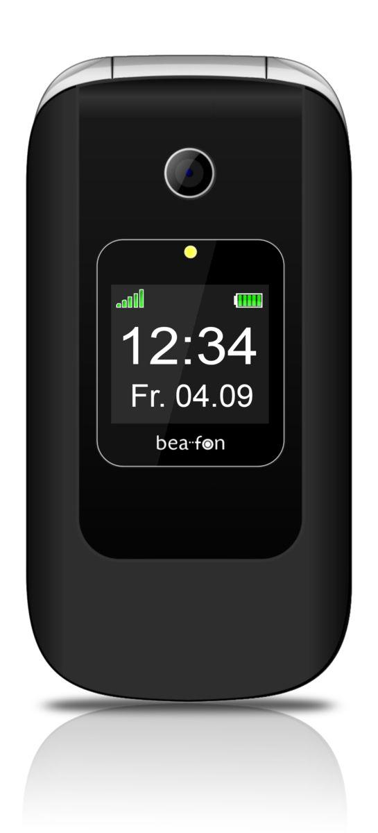 BEAFON Bea-fon Großtastenklapphandy SL670, mit Farbaußendisplay, inkl. Tasche, schwarz/silber