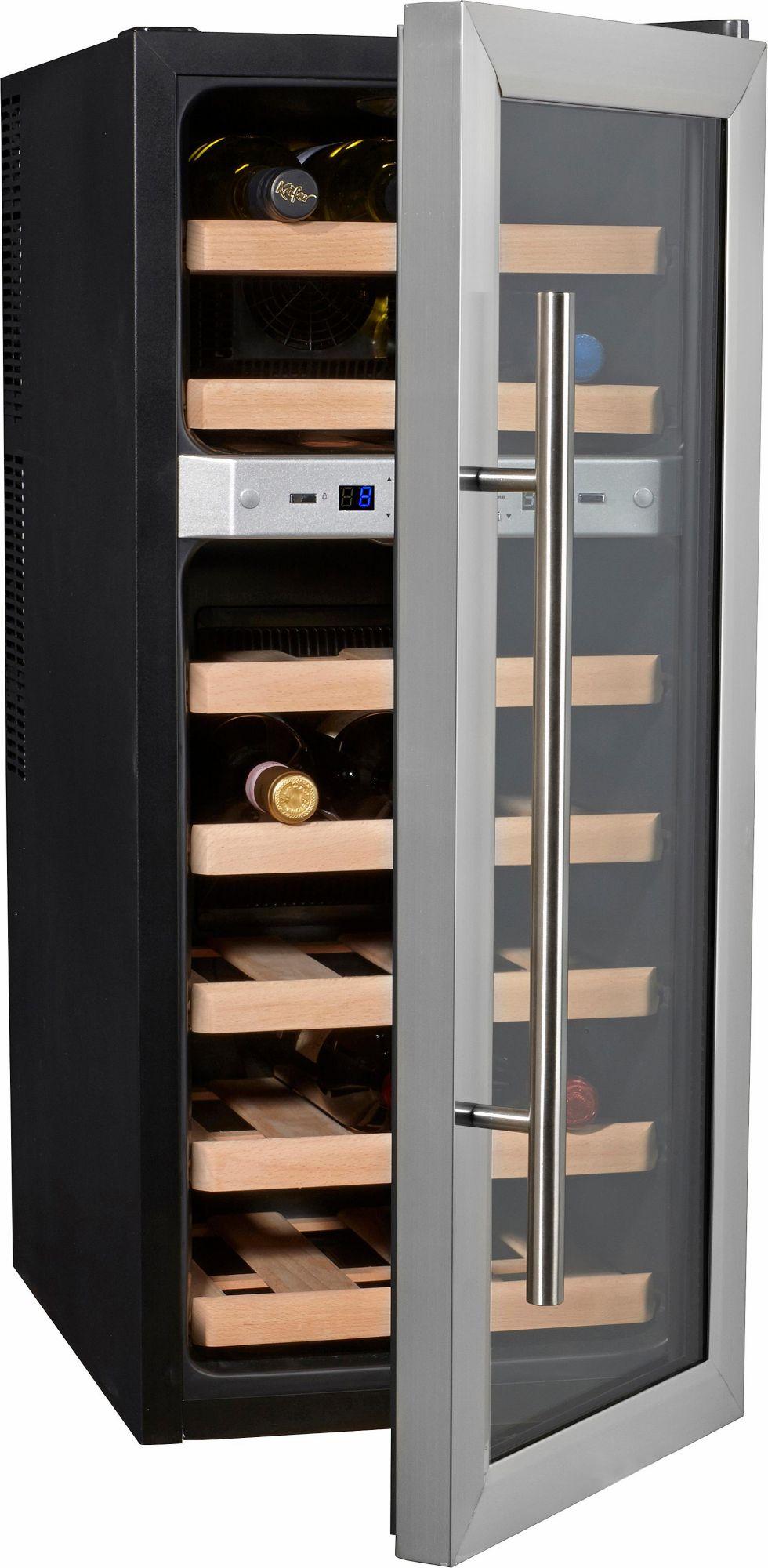 CASO DESIGN CASO Design, Weinkühlschrank, »Wine Duett 21«, Höhe 80,5 cm, für 21 Bordeauxflaschen á 0,75l