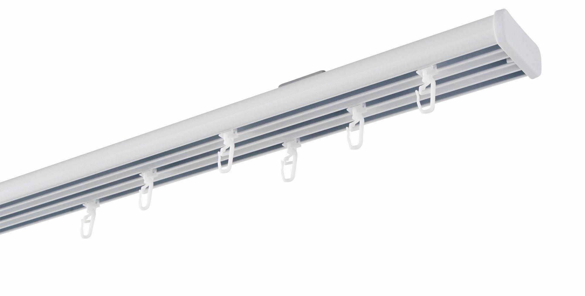 GARESA Flächenvorhangschiene mit 3 Läufen nach Maß 20 x 55 mm, Garesa, »Compact Deckenmontage«