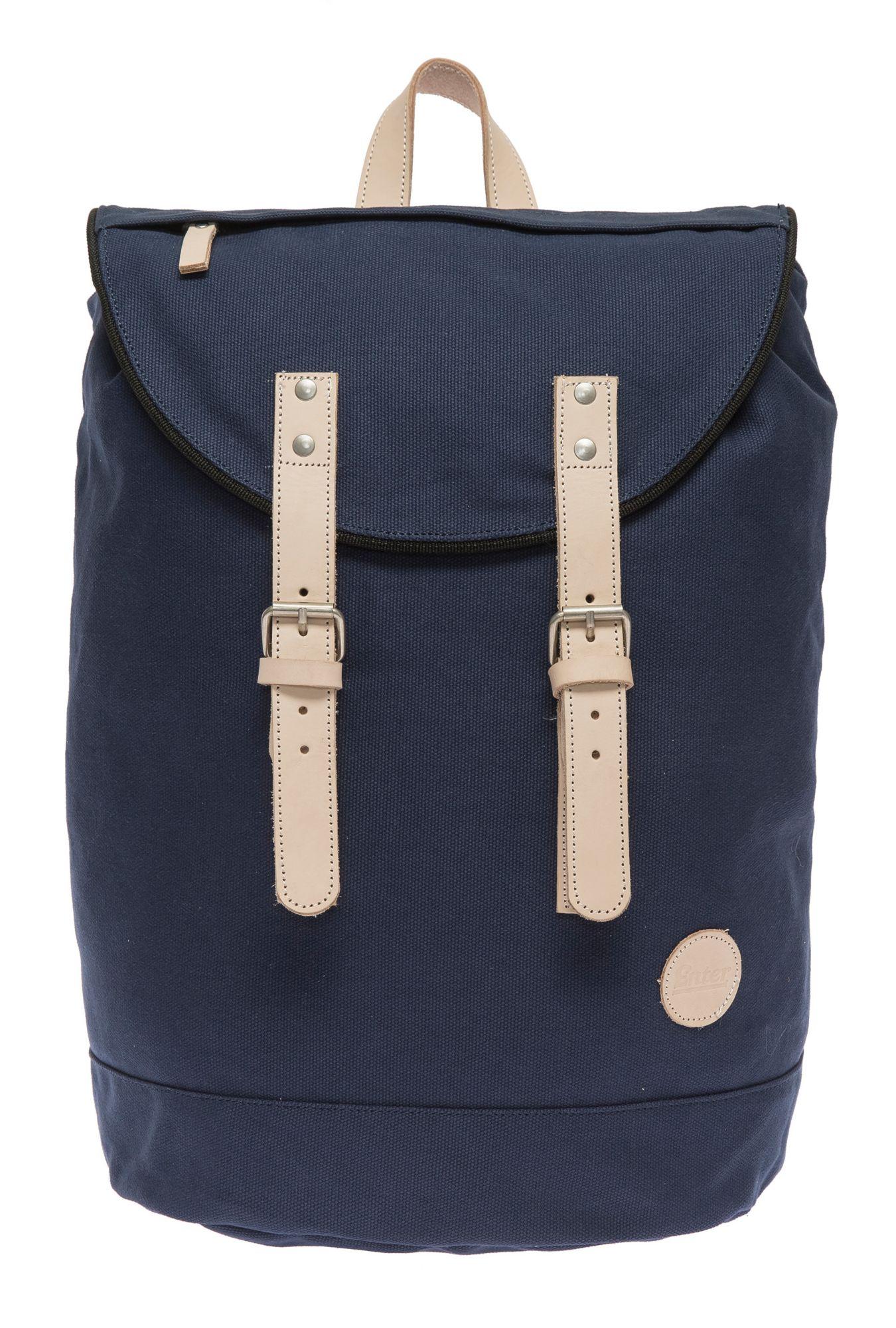 ENTER Enter Rucksack mit Echtleder-Applikationen, »Day Hiker Bag, Navy/Natural«