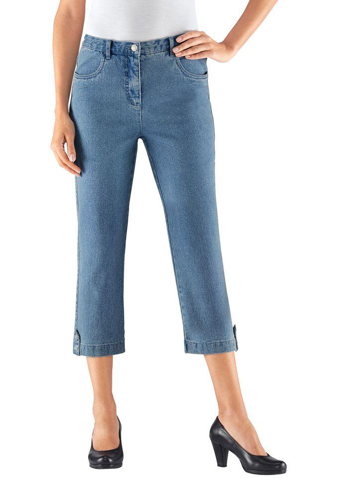 COLLECTION L Collection L. 7/8-Jeans mit Zierriegel und Dekoknöpfe am Beinabschluss