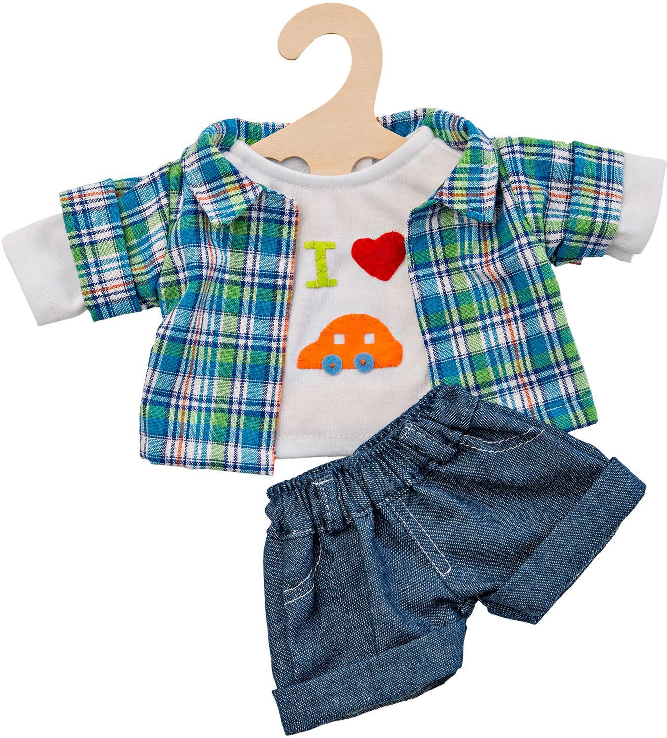 HELESS® Heless® Puppenkleidung Größe 28-35 cm o. 35-45 cm, »Jeansshorts mit Hemd« (3tlg.)